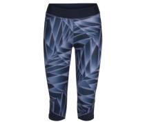 Damen Lauftights Imotion Printed Knee Tights W Dreiviertellang, Blau