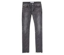 Bedruckte Skinny Jeans mit ausgefransten Säumen