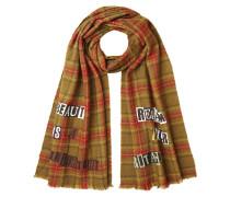 Karierter Schal aus Wolle mit Print