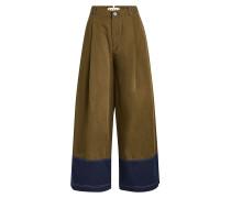 Wide Leg Pants aus Baumwolle und Leinen
