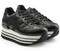 Plateau-Sneakers aus Leder mit Pailletten