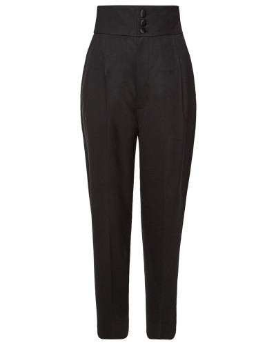 High Waist Cropped Pants aus Wolle