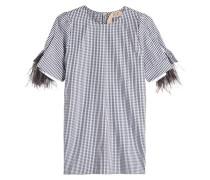 Karierte Bluse aus Baumwolle mit Straußenfedern