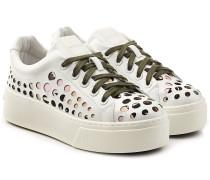 Plateau-Sneakers aus Leder mit Cut Outs
