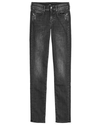 Straight Leg Jeans Mid Rise Roxanne Slim Illusion
