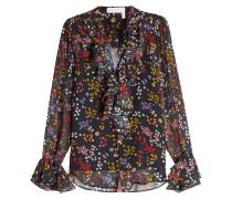 Bedruckte Bluse aus Seide mit Volants