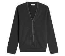 V-Pullover aus Baumwolle mit Décor