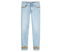 Straight Leg Jeans mit Zierborten