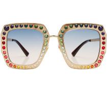 Oversized Sonnenbrille mit Kristallen