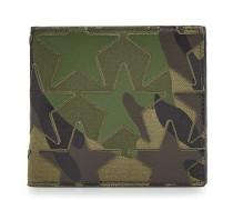 Bedrucktes Portemonnaie aus Baumwolle mit Leder