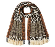 Gemusterter Fransen-Schal mit Wolle und Seide