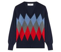 V-Pullover aus Wolle mit Rautenmuster