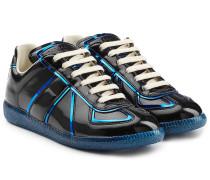 Sneakers aus Lackleder mit Metallic-Paspeln