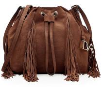 Bucket-Bag aus Veloursleder