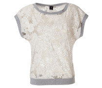 Wheat/Grey Floral Cut Out Crochet Top