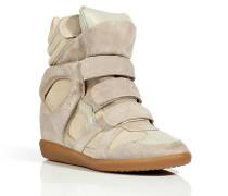 Beige Suede/Leather Bekett High-Top Wedge Sneakers