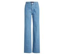 Wide Leg Jeans mit gefransten Säumen