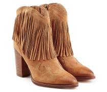 Cowboy Boots aus Veloursleder mit Fransen