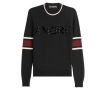 Pullover mit Print, Applikationen und Nieten