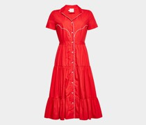 Hemdblusenkleid aus Baumwolle mit Kontrastpaspeln