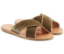 Sandalen Thais aus Samt mit gekreuzten Riemen