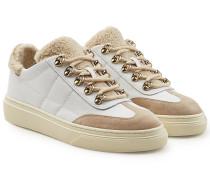 Sneakers aus Veloursleder und Leder mit Webpelz