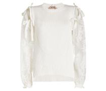 Pullover aus Baumwolle mit Spitze und Schleifendetails