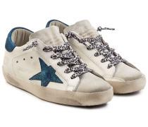 Sneakers Super Star aus Leder und Veloursleder mit Glitter