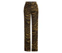 Wide Leg Hose aus Samt mit Animal-Print