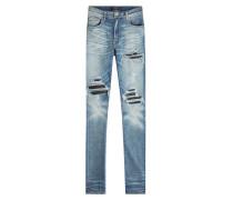 Skinny Jeans im Distressed Look mit Leder