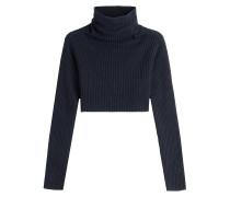 Cropped-Pullover aus Schurwolle und Kaschmir mit Rollkragen
