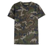 T-Shirt mit Camou-Print und Stickerei