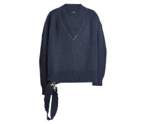 Oversized V-Pullover aus Wolle