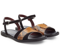 Sandalen aus Veloursleder und geprägtem Leder