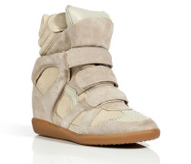 Beige Suede/Leather Bekett High-Top Wedge Sneakers