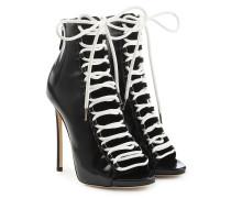 Stiletto-Booties aus Leder mit offener Front