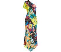 One-Shoulder-Kleid aus Seide mit Print
