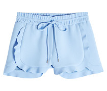 Shorts aus Crêpe mit Rüschen