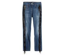 Jeans mit Leder-Fransen
