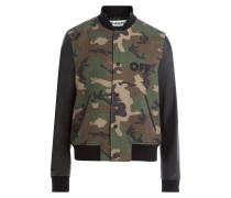 Bomberjacke aus Wolle mit Camouflage-Print und Lederärmeln