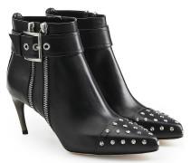 Verzierte Kitten Heel Ankle Boots aus Kalbsleder