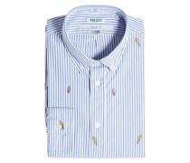 Gestreiftes Hemd aus Baumwolle mit Applikationen