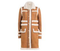 Mantel aus Lammleder mit Lammfell