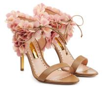 Leder-Sandalen mit Blumenschmuck