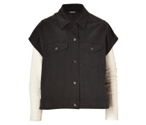 Charcoal/White Denim Vest-Jacket Combo with Leather Sleeves