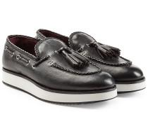 Leder-Loafers mit Quasten