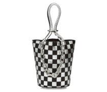 Bedruckte Bucket Bag aus Leder mit Metallkette