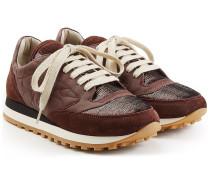 Sneakers mit Leder und Veloursleder