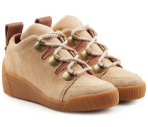 Wedge-Sneakers aus Veloursleder