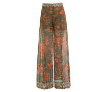 Wide-Leg-Pants aus Baumwolle mit Rhinozeros-Print